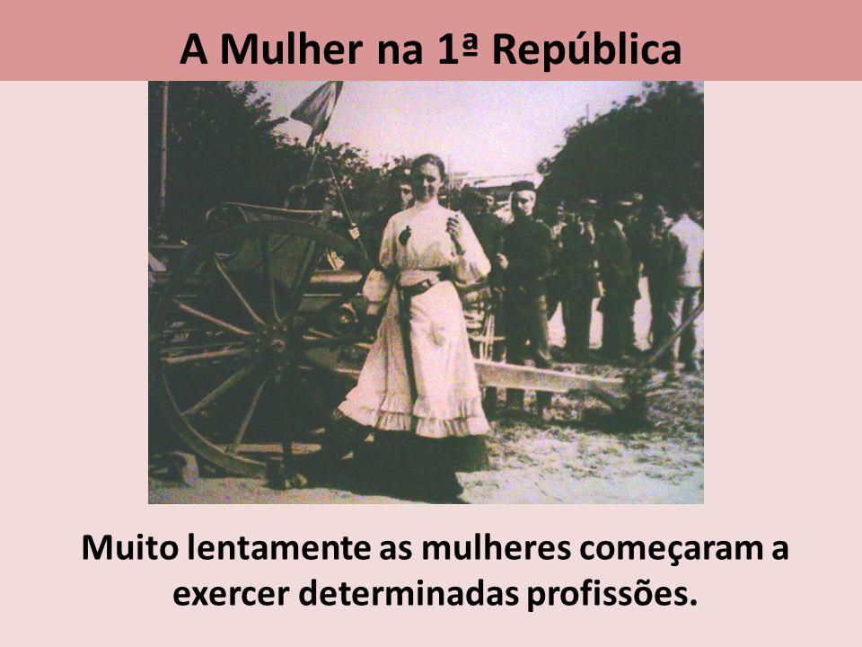 Muito lentamente as mulheres começaram a exercer determinadas profissões. A Mulher na 1ª República