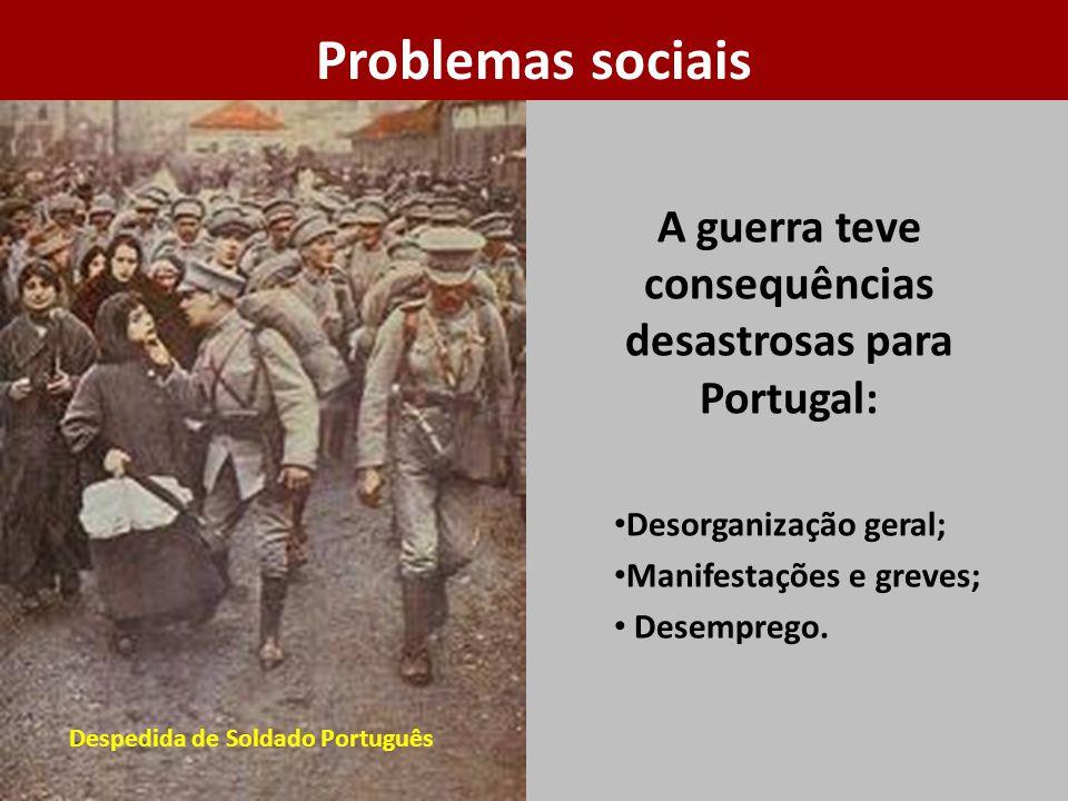 A guerra teve consequências desastrosas para Portugal: Desorganização geral; Manifestações e greves; Desemprego. Despedida de Soldado Português Proble