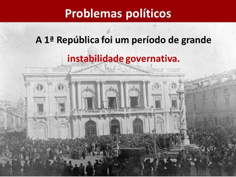A 1ª República foi um período de grande instabilidade governativa. Problemas políticos