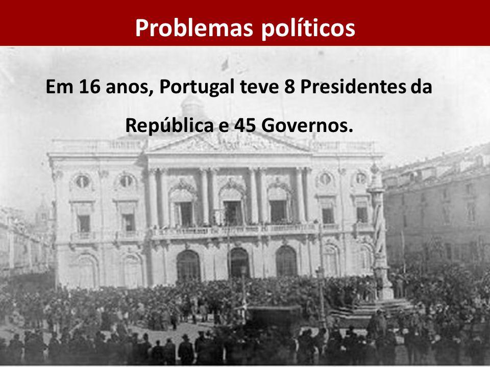 Em 16 anos, Portugal teve 8 Presidentes da República e 45 Governos. Problemas políticos