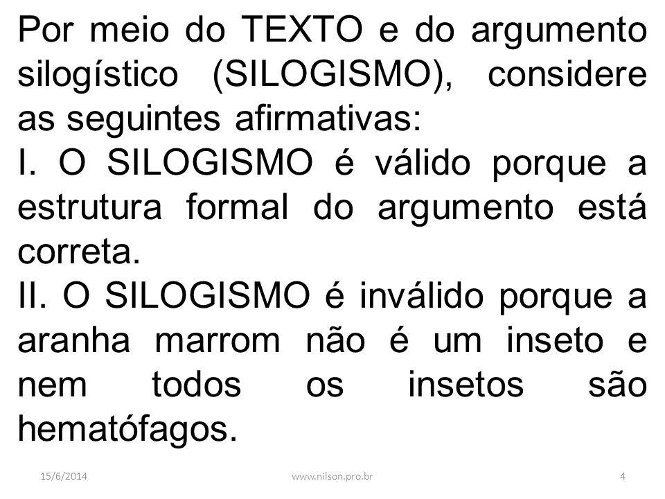 Por meio do TEXTO e do argumento silogístico (SILOGISMO), considere as seguintes afirmativas: I. O SILOGISMO é válido porque a estrutura formal do arg