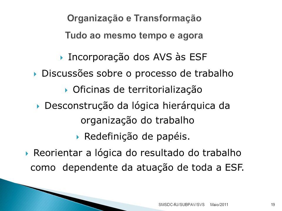 Incorporação dos AVS às ESF Discussões sobre o processo de trabalho Oficinas de territorialização Desconstrução da lógica hierárquica da organização do trabalho Redefinição de papéis.