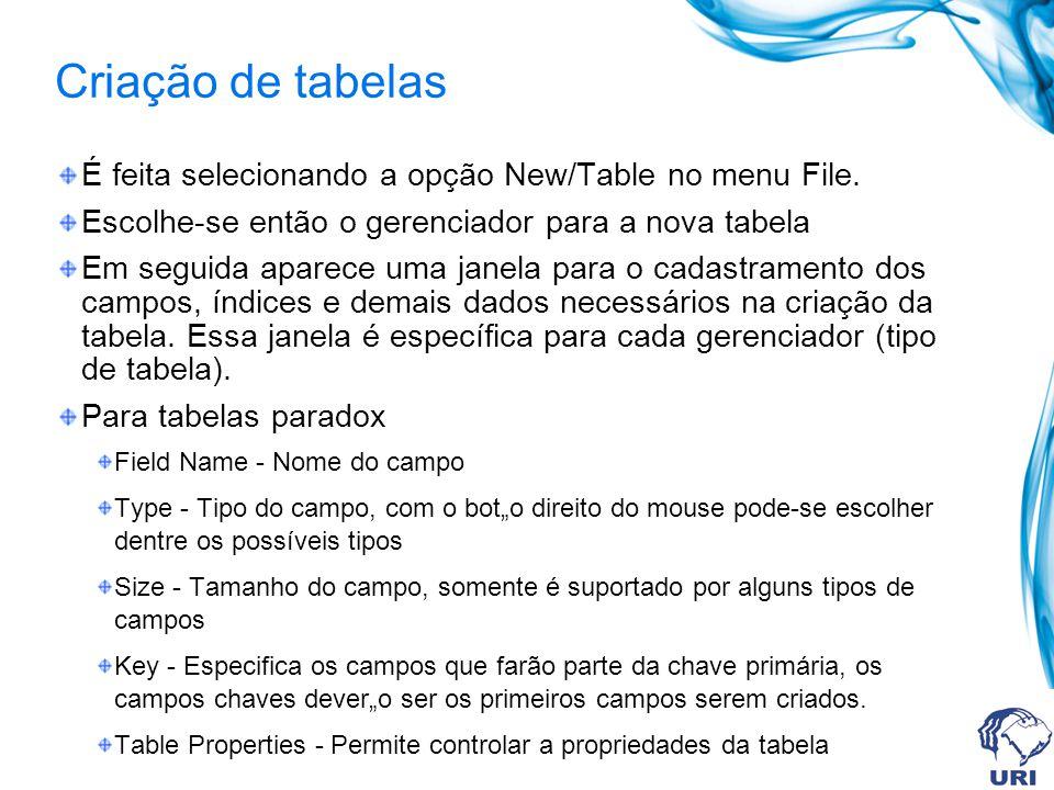 Criação de tabelas É feita selecionando a opção New/Table no menu File. Escolhe-se então o gerenciador para a nova tabela Em seguida aparece uma janel