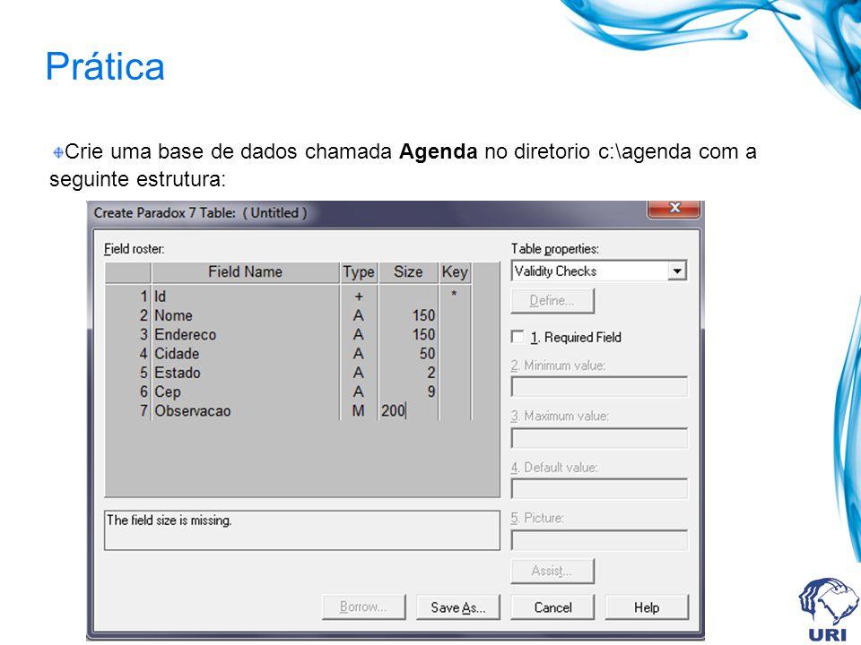 Prática Crie uma base de dados chamada Agenda no diretorio c:\agenda com a seguinte estrutura: