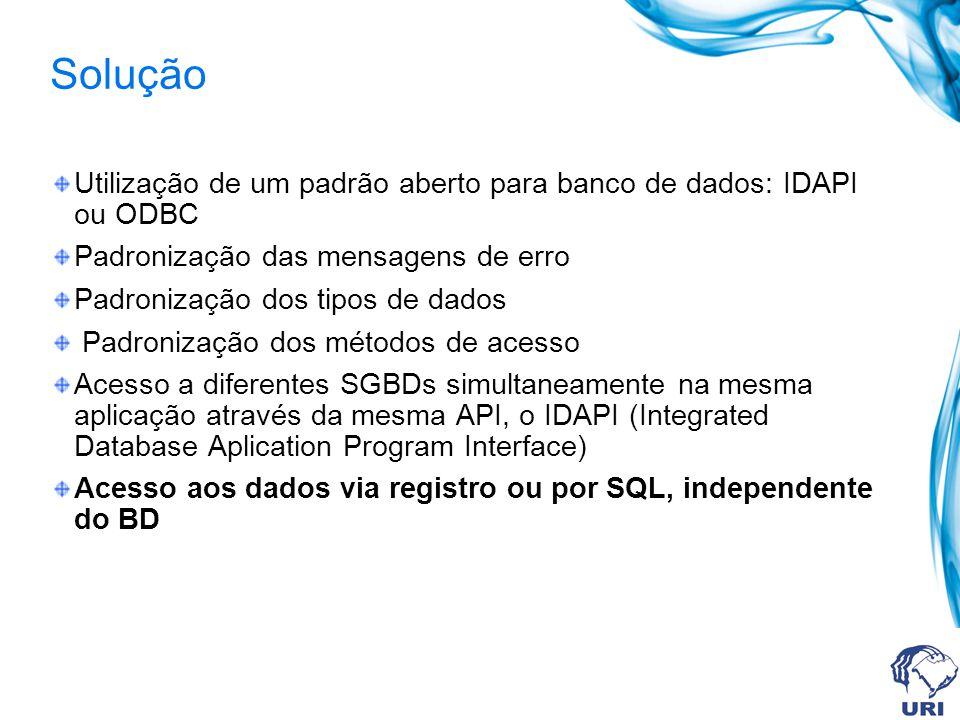 Solução Utilização de um padrão aberto para banco de dados: IDAPI ou ODBC Padronização das mensagens de erro Padronização dos tipos de dados Padroniza