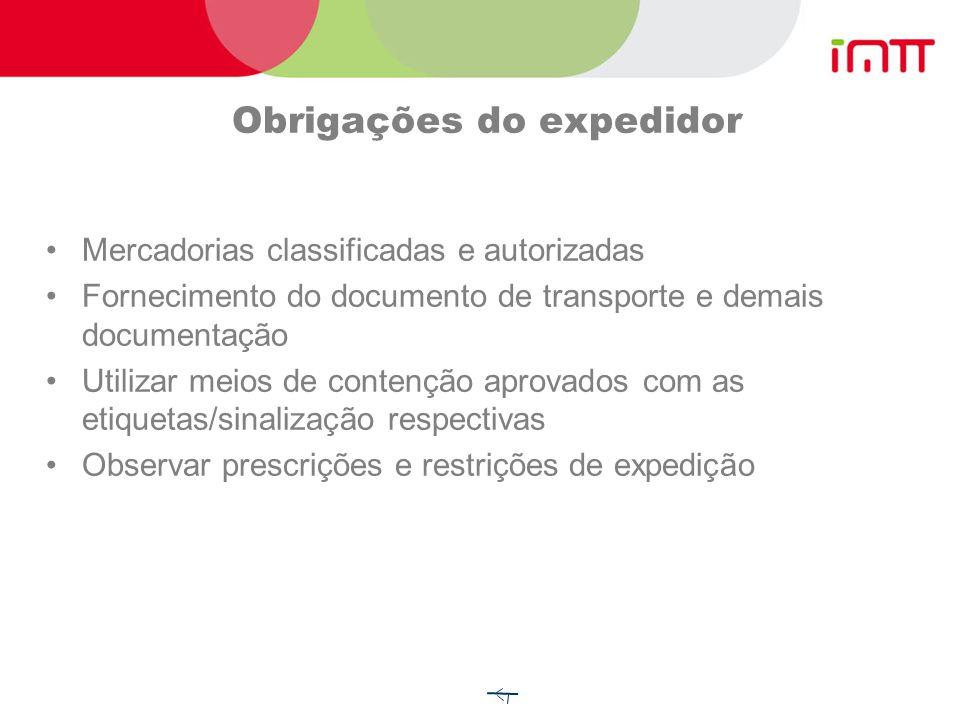 1- Obrigações dos intervenientes Expedidor Transportador Destinatário Carregador Embalador Enchedor Operador de contentor-cisterna ou de cisterna móve