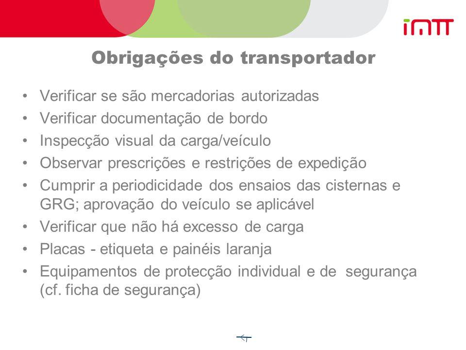 Obrigações do expedidor Mercadorias classificadas e autorizadas Fornecimento do documento de transporte e demais documentação Utilizar meios de conten