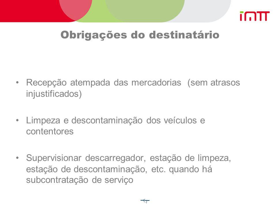 Obrigações do transportador Verificar se são mercadorias autorizadas Verificar documentação de bordo Inspecção visual da carga/veículo Observar prescr