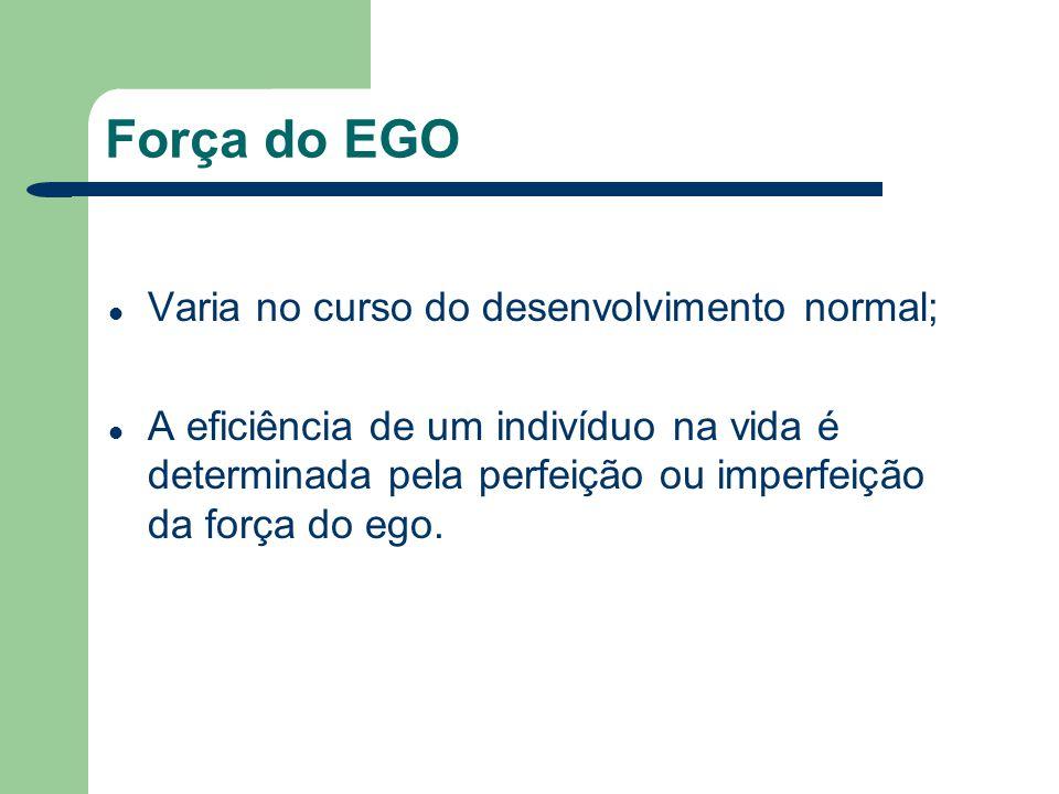 Força do EGO Varia no curso do desenvolvimento normal; A eficiência de um indivíduo na vida é determinada pela perfeição ou imperfeição da força do eg