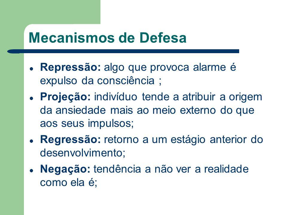 Mecanismos de Defesa Repressão: algo que provoca alarme é expulso da consciência ; Projeção: indivíduo tende a atribuir a origem da ansiedade mais ao