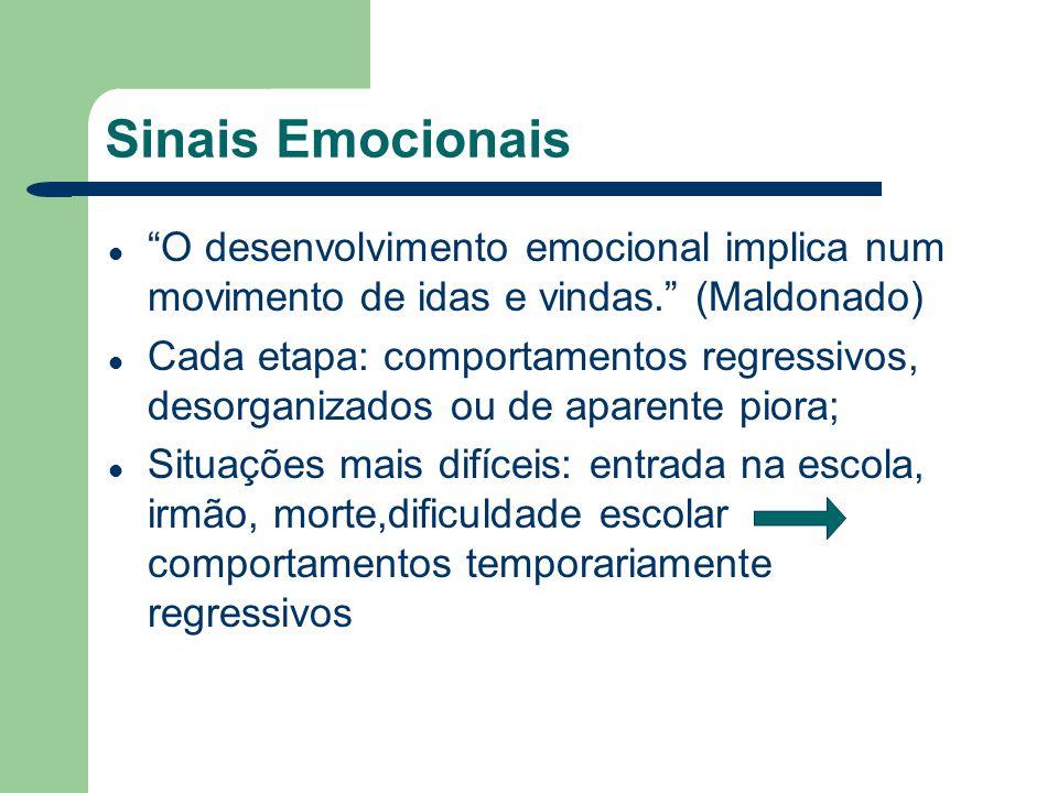 Sinais Emocionais O desenvolvimento emocional implica num movimento de idas e vindas. (Maldonado) Cada etapa: comportamentos regressivos, desorganizad