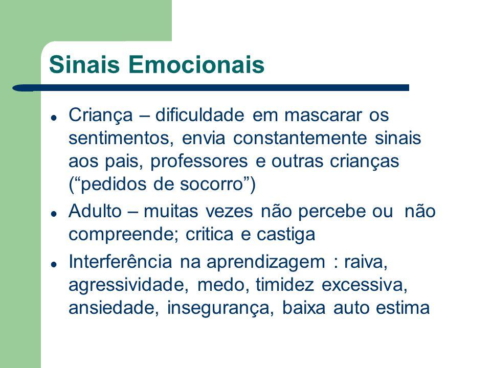 Sinais Emocionais Criança – dificuldade em mascarar os sentimentos, envia constantemente sinais aos pais, professores e outras crianças (pedidos de so