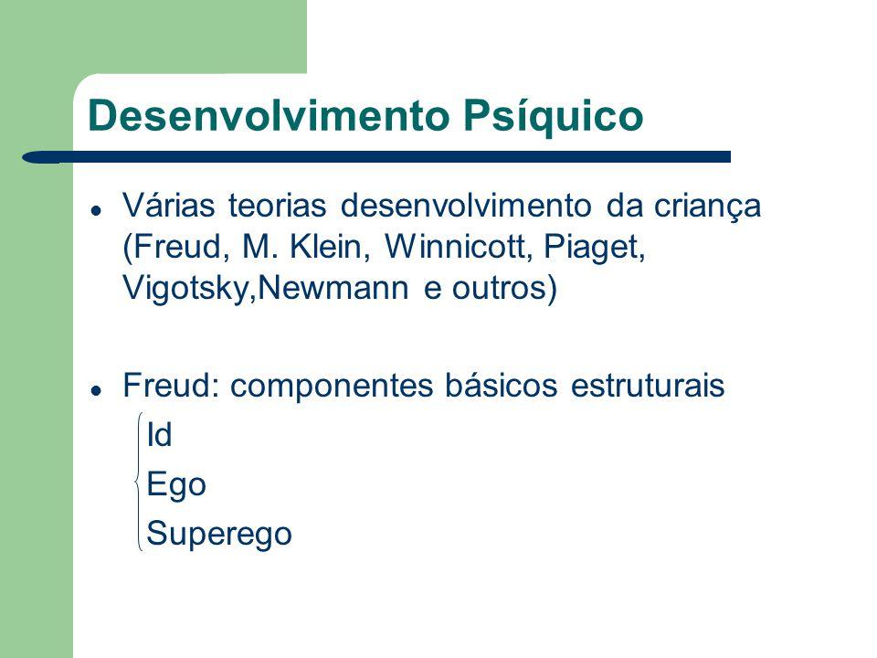 Desenvolvimento Psíquico Várias teorias desenvolvimento da criança (Freud, M. Klein, Winnicott, Piaget, Vigotsky,Newmann e outros) Freud: componentes