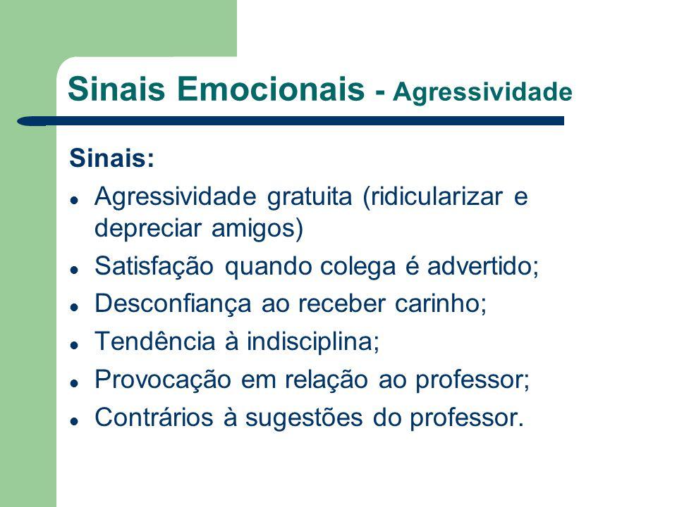 Sinais Emocionais - Agressividade Sinais: Agressividade gratuita (ridicularizar e depreciar amigos) Satisfação quando colega é advertido; Desconfiança