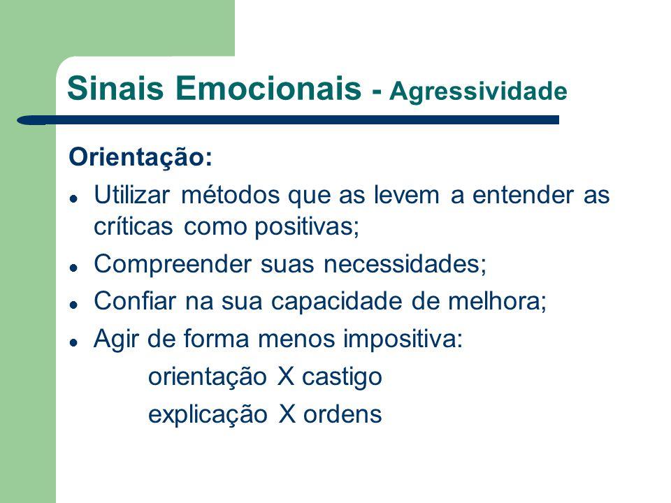 Sinais Emocionais - Agressividade Orientação: Utilizar métodos que as levem a entender as críticas como positivas; Compreender suas necessidades; Conf