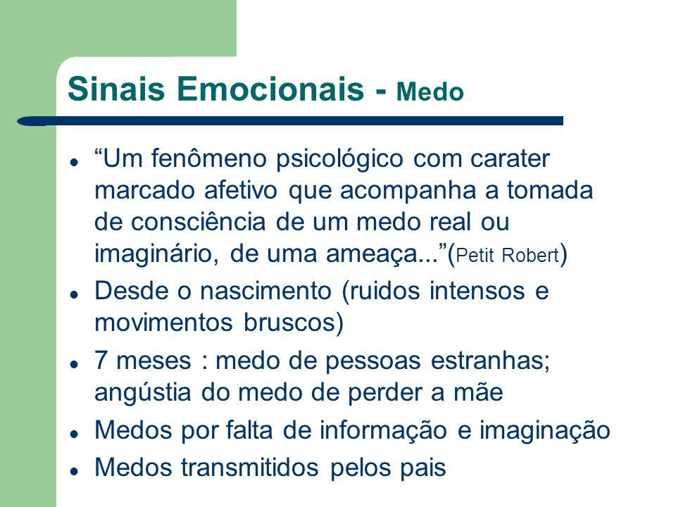 Sinais Emocionais - Medo Um fenômeno psicológico com carater marcado afetivo que acompanha a tomada de consciência de um medo real ou imaginário, de u
