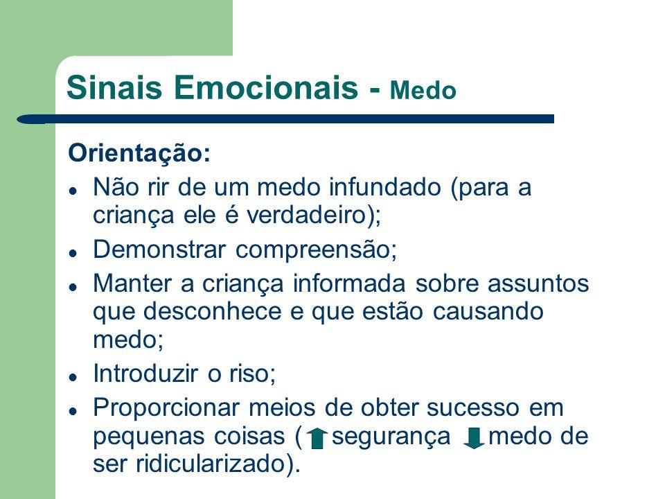 Sinais Emocionais - Medo Orientação: Não rir de um medo infundado (para a criança ele é verdadeiro); Demonstrar compreensão; Manter a criança informad