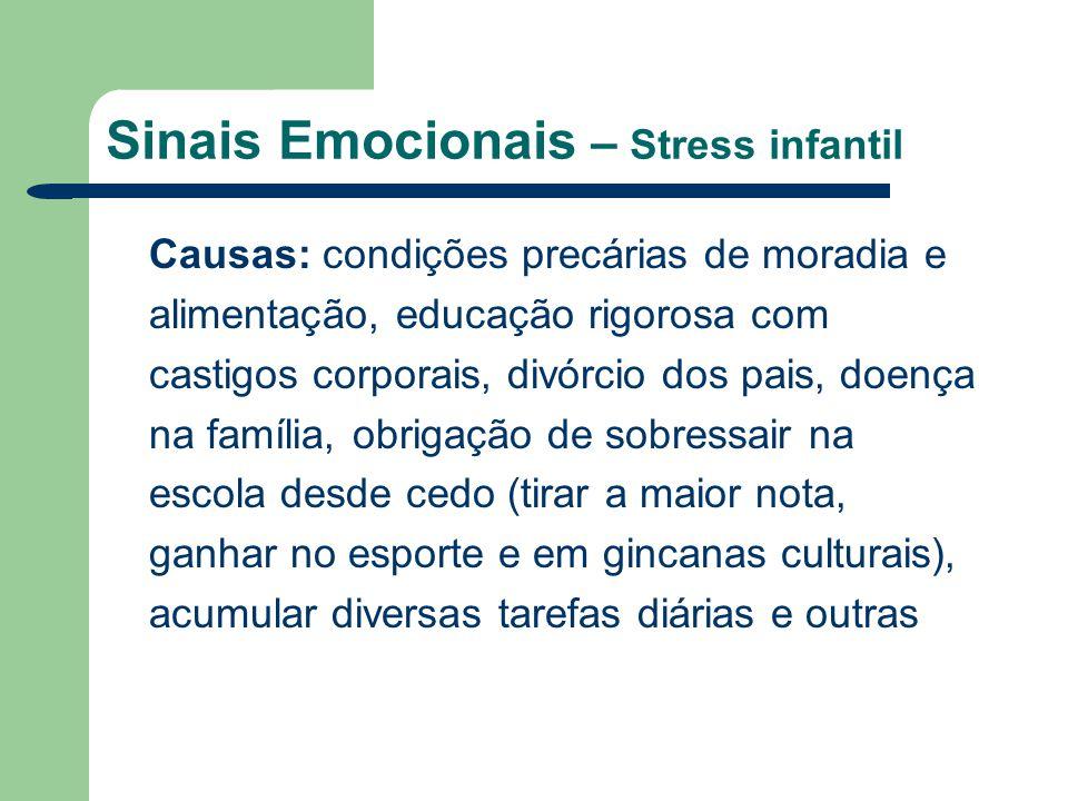 Sinais Emocionais – Stress infantil Causas: condições precárias de moradia e alimentação, educação rigorosa com castigos corporais, divórcio dos pais,