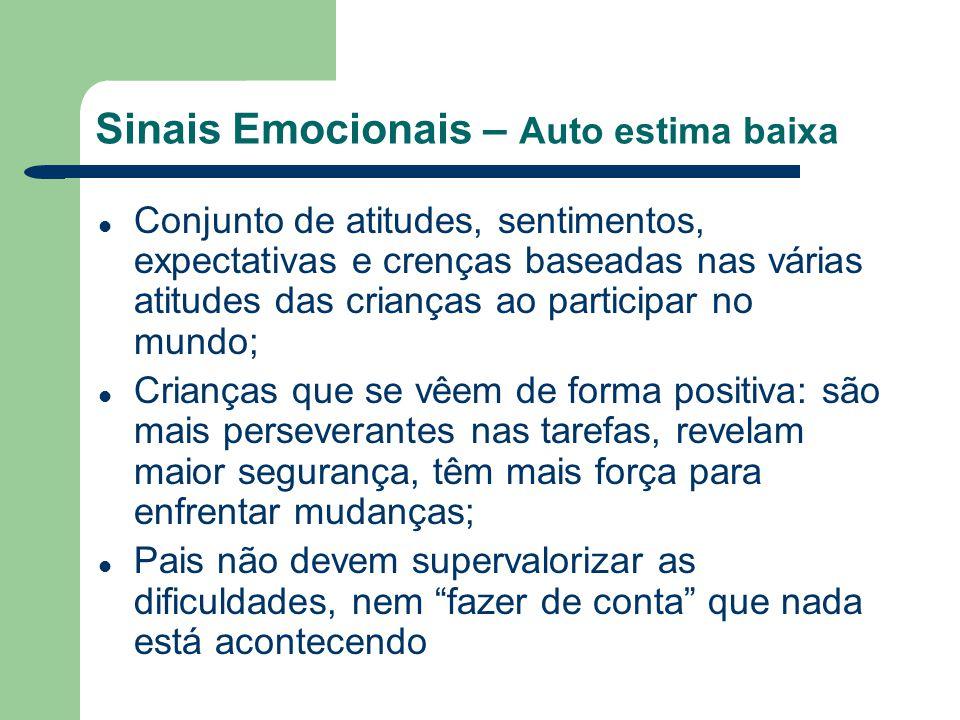 Sinais Emocionais – Auto estima baixa Conjunto de atitudes, sentimentos, expectativas e crenças baseadas nas várias atitudes das crianças ao participa