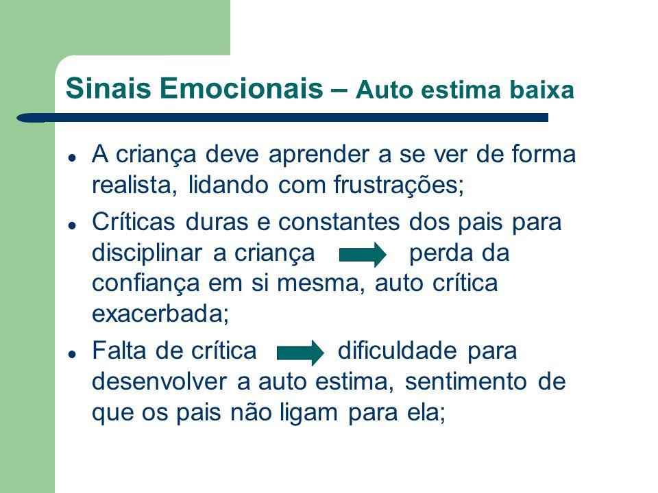 Sinais Emocionais – Auto estima baixa A criança deve aprender a se ver de forma realista, lidando com frustrações; Críticas duras e constantes dos pai