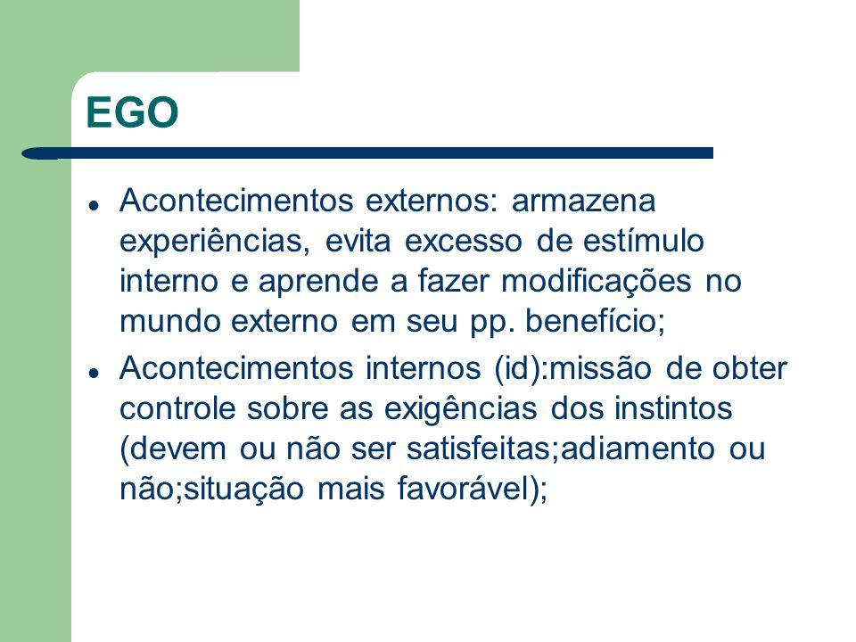EGO Acontecimentos externos: armazena experiências, evita excesso de estímulo interno e aprende a fazer modificações no mundo externo em seu pp. benef