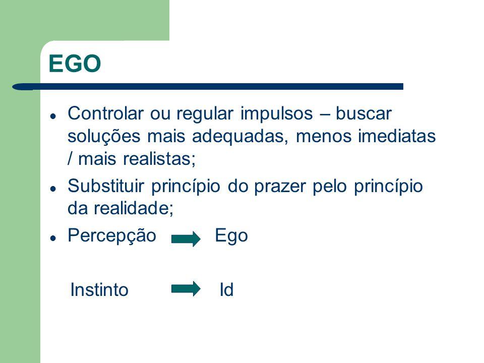SUPEREGO Desenvolve-se a partir do ego; Atua como um juiz ou censor sobre o ego; Depósito dos códigos morais e modelos de conduta (valores de gerações); Representante interno dos valores e ideais tradicionais da sociedade; Fixa normas que definem e limitam a flexibilidade do ego.