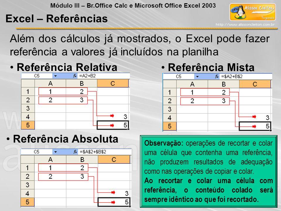 Referência Mista Referência Absoluta Referência Relativa Excel – Referências Módulo III – Br.Office Calc e Microsoft Office Excel 2003 Além dos cálcul