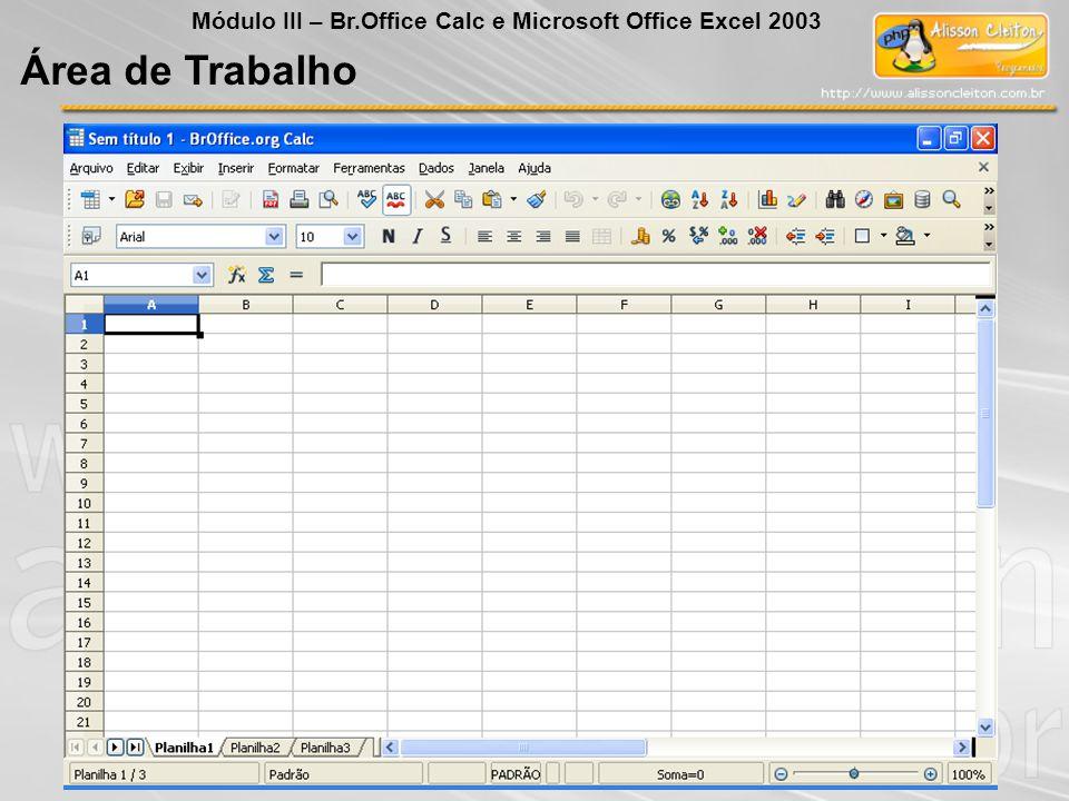 Área de Trabalho Módulo III – Br.Office Calc e Microsoft Office Excel 2003
