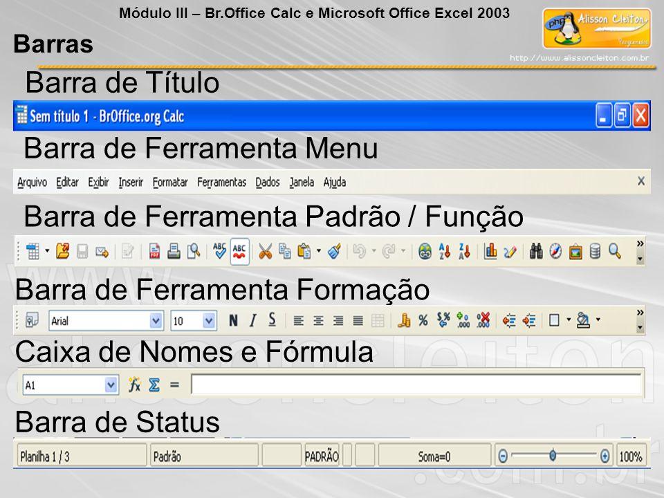 Barras Módulo III – Br.Office Calc e Microsoft Office Excel 2003 Barra de Título Barra de Ferramenta Menu Barra de Ferramenta Padrão / Função Barra de