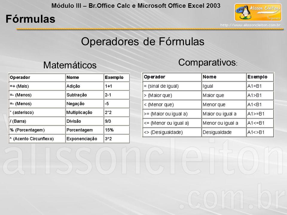 Operadores de Fórmulas Matemáticos Comparativos : Fórmulas Módulo III – Br.Office Calc e Microsoft Office Excel 2003