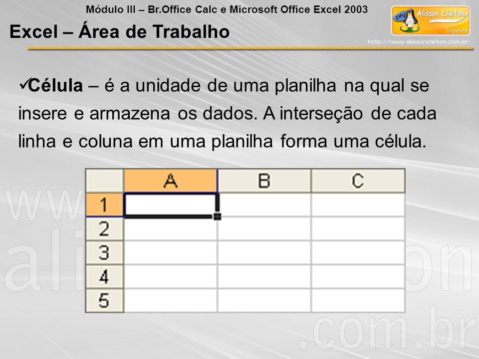 Excel – Área de Trabalho Célula – é a unidade de uma planilha na qual se insere e armazena os dados. A interseção de cada linha e coluna em uma planil