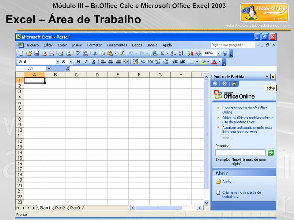 Excel – Área de Trabalho Módulo III – Br.Office Calc e Microsoft Office Excel 2003
