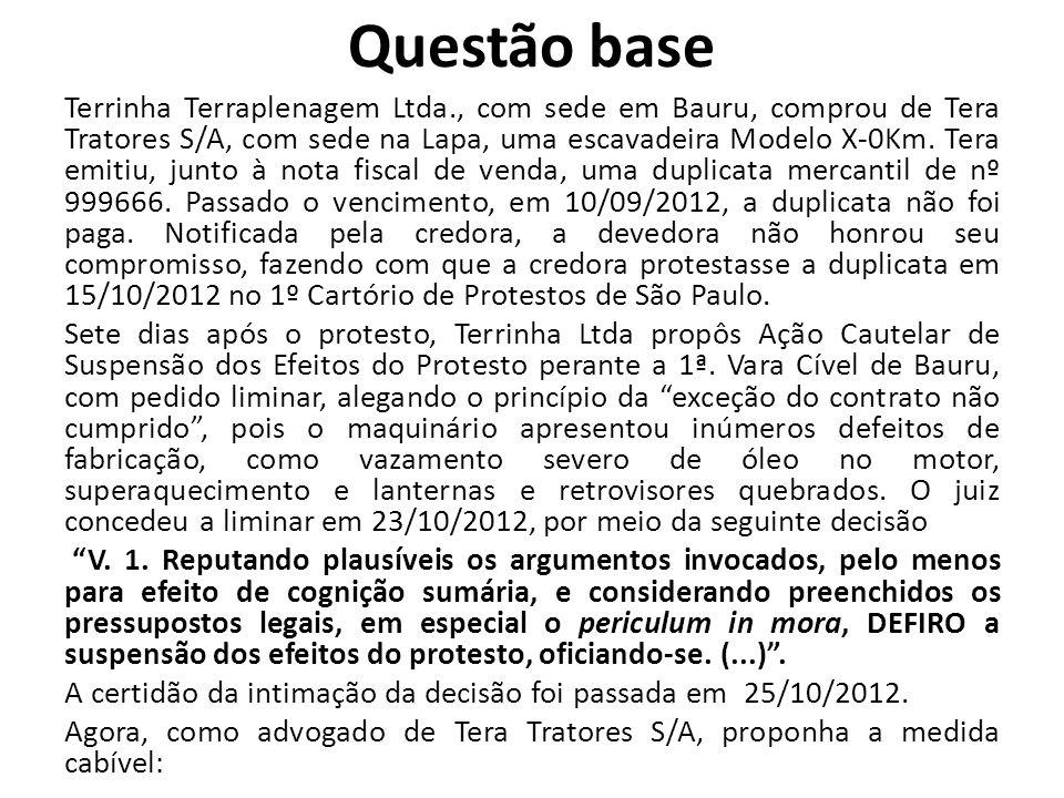 Questão base Terrinha Terraplenagem Ltda., com sede em Bauru, comprou de Tera Tratores S/A, com sede na Lapa, uma escavadeira Modelo X-0Km. Tera emiti