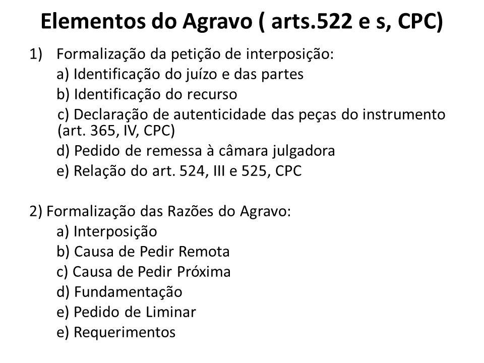 Elementos do Agravo ( arts.522 e s, CPC) 1)Formalização da petição de interposição: a) Identificação do juízo e das partes b) Identificação do recurso