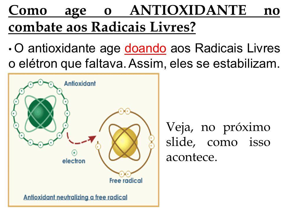 Como age o ANTIOXIDANTE no combate aos Radicais Livres? O antioxidante age doando aos Radicais Livres o elétron que faltava. Assim, eles se estabiliza