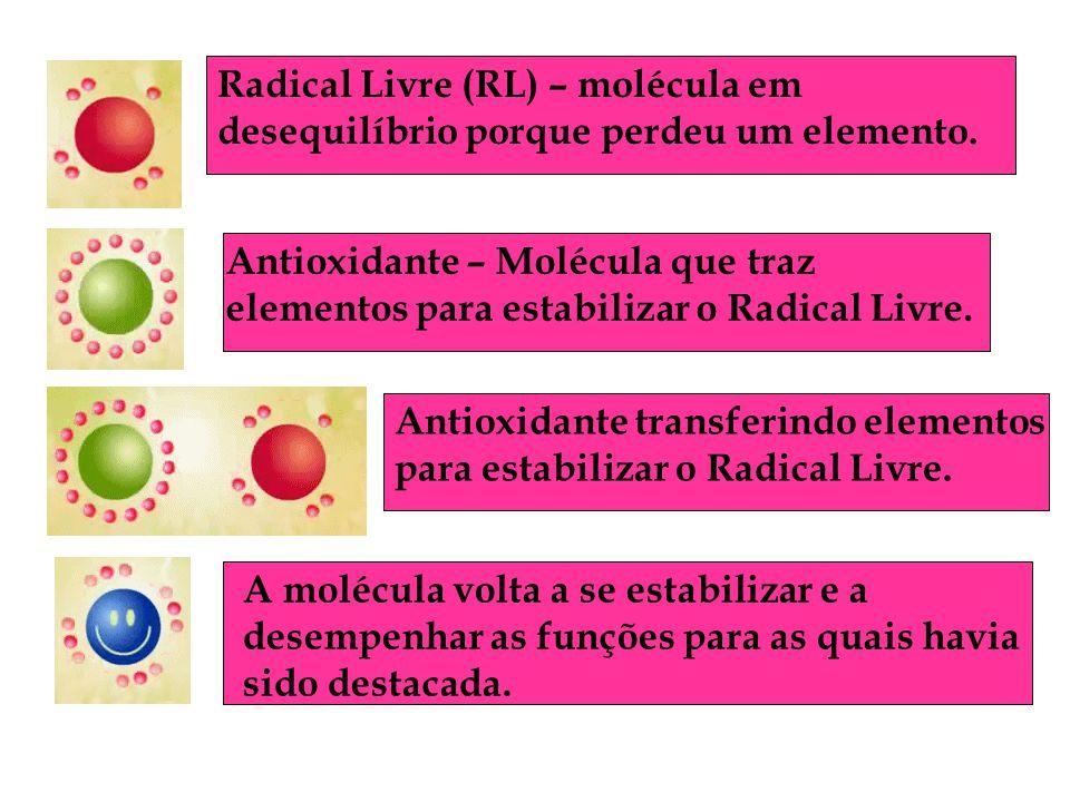 Radical Livre (RL) – molécula em desequilíbrio porque perdeu um elemento. Antioxidante – Molécula que traz elementos para estabilizar o Radical Livre.