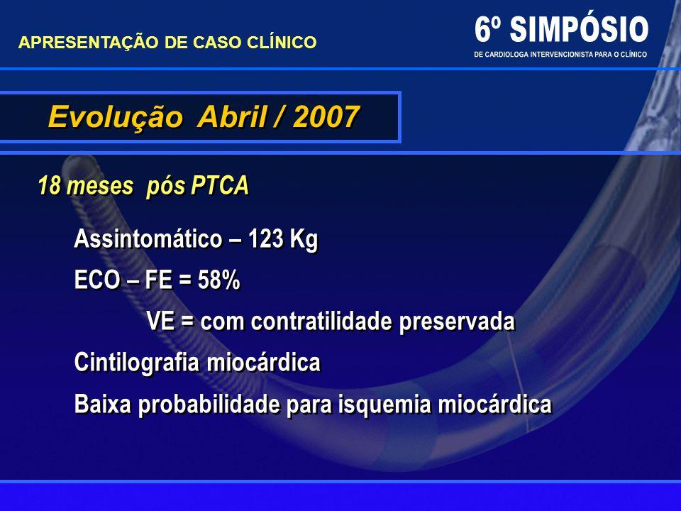 Evolução Abril / 2007 18 meses pós PTCA APRESENTAÇÃO DE CASO CLÍNICO Assintomático – 123 Kg ECO – FE = 58% VE = com contratilidade preservada Cintilog