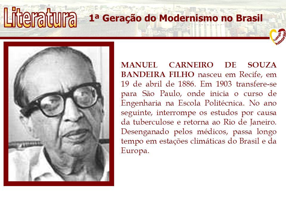 1ª Geração do Modernismo no Brasil MANUEL CARNEIRO DE SOUZA BANDEIRA FILHO nasceu em Recife, em 19 de abril de 1886.