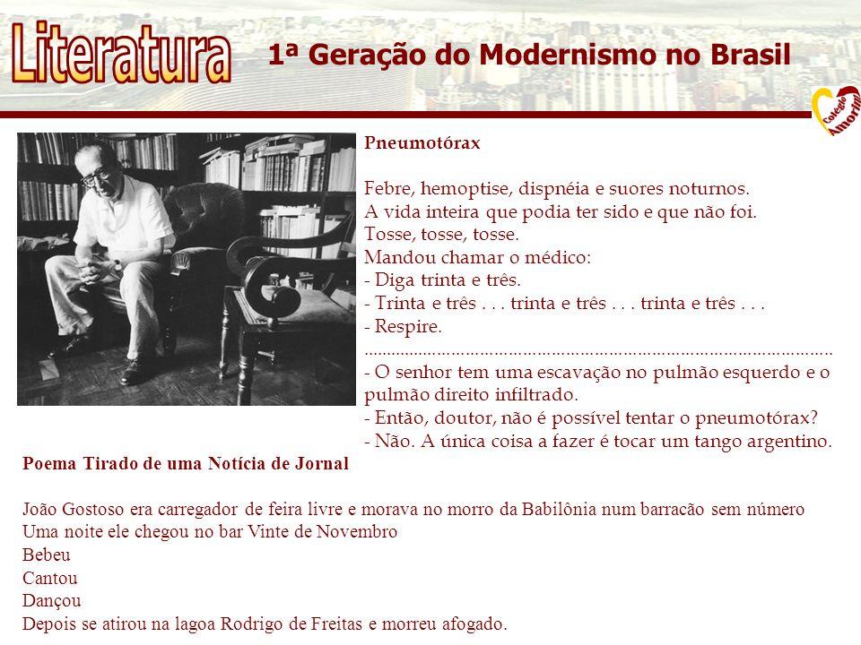 1ª Geração do Modernismo no Brasil Pneumotórax Febre, hemoptise, dispnéia e suores noturnos.