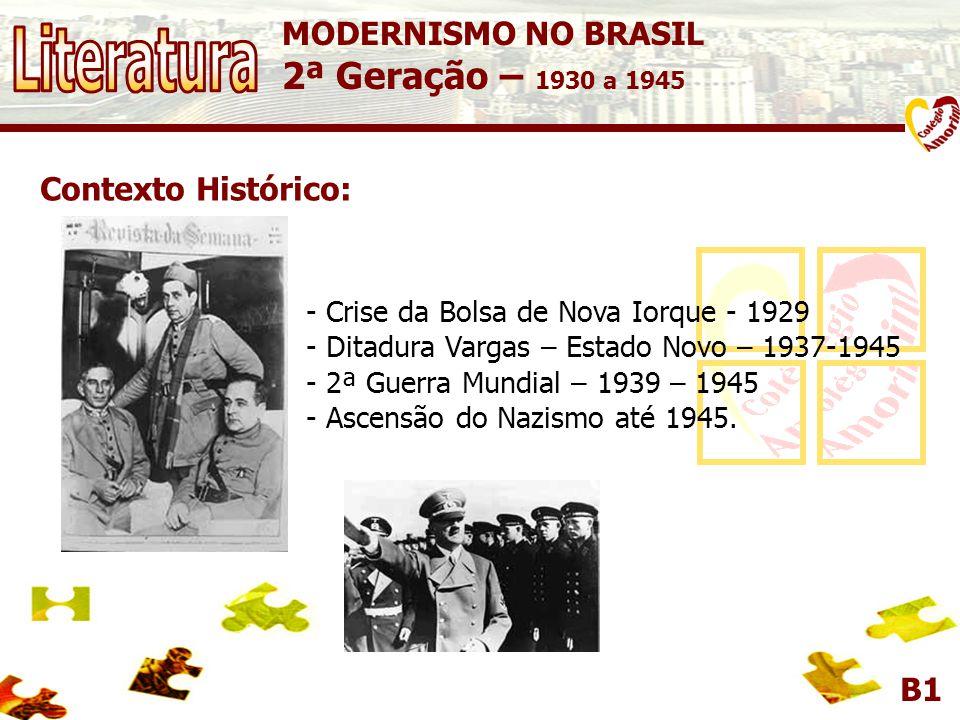 B1 Contexto Histórico: - Crise da Bolsa de Nova Iorque - 1929 - Ditadura Vargas – Estado Novo – 1937-1945 - 2ª Guerra Mundial – 1939 – 1945 - Ascensão do Nazismo até 1945.