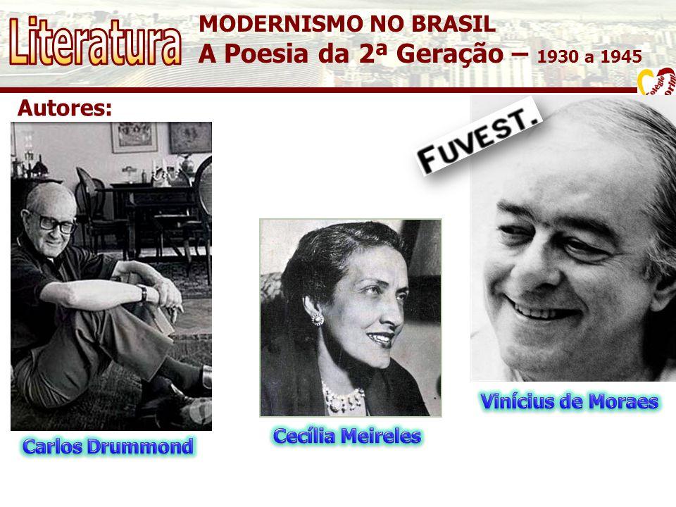 MODERNISMO NO BRASIL A Poesia da 2ª Geração – 1930 a 1945 Autores: