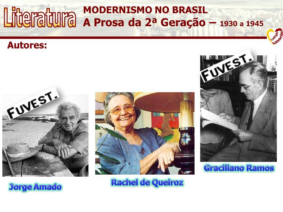 MODERNISMO NO BRASIL A Prosa da 2ª Geração – 1930 a 1945 Autores: