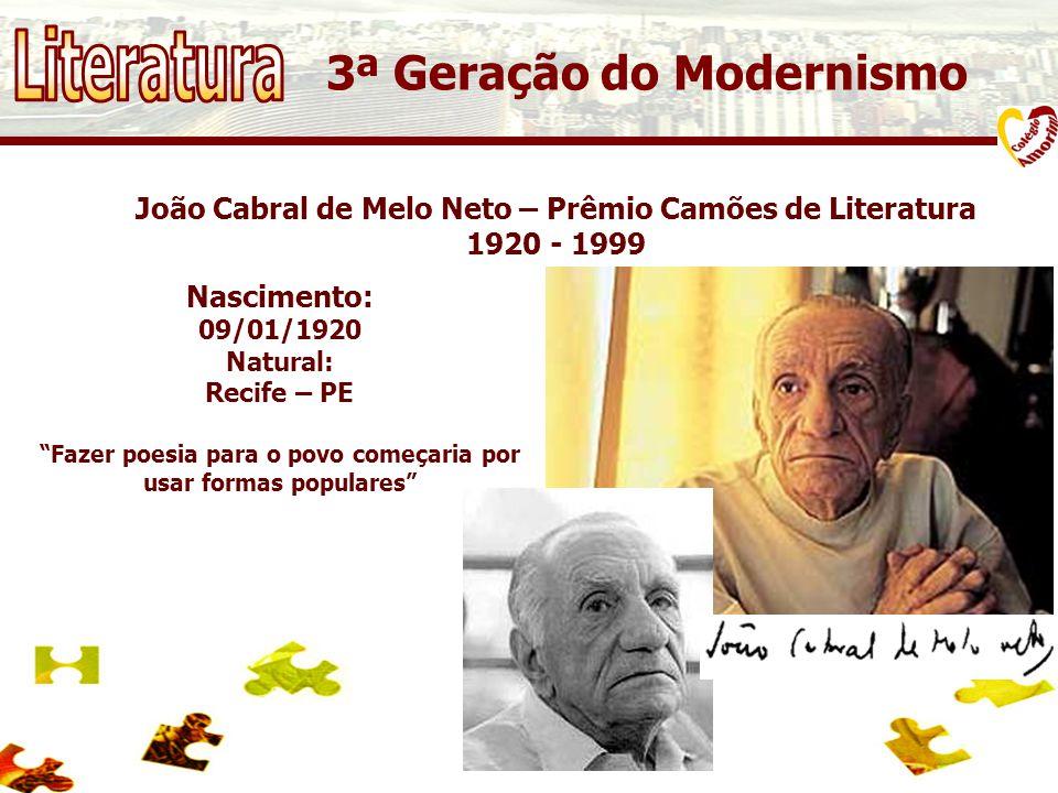 João Cabral de Melo Neto – Prêmio Camões de Literatura 1920 - 1999 3ª Geração do Modernismo Nascimento: 09/01/1920 Natural: Recife – PE Fazer poesia para o povo começaria por usar formas populares