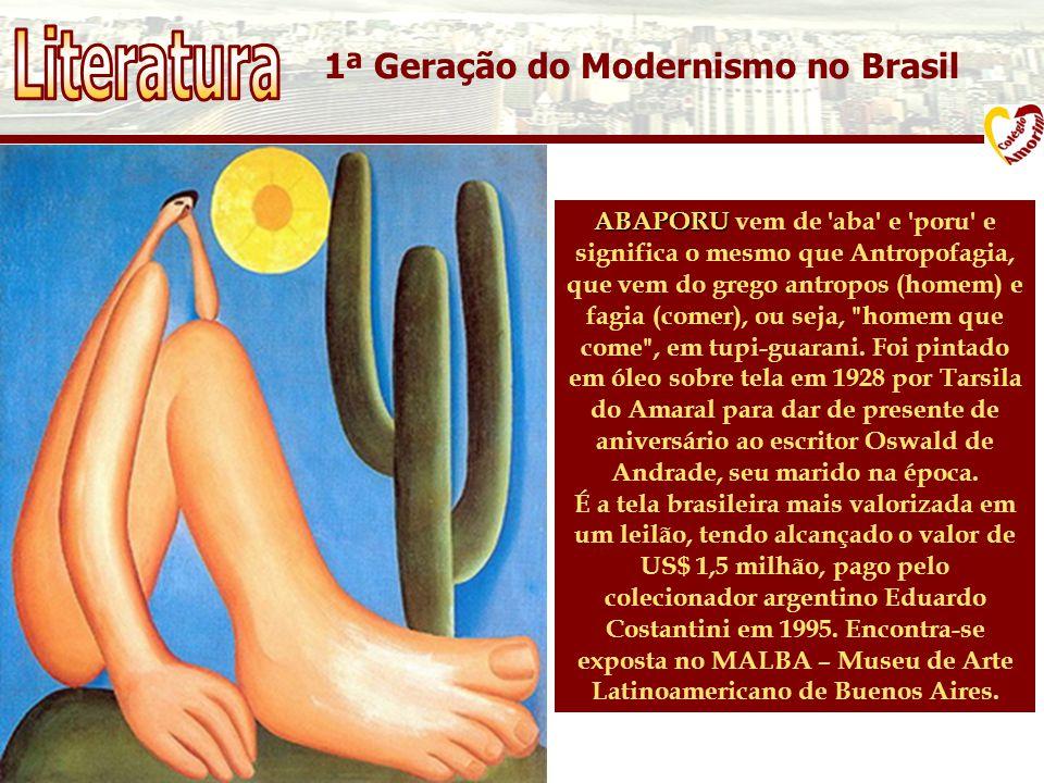 1ª Geração do Modernismo no Brasil ABAPORU ABAPORU vem de aba e poru e significa o mesmo que Antropofagia, que vem do grego antropos (homem) e fagia (comer), ou seja, homem que come , em tupi-guarani.