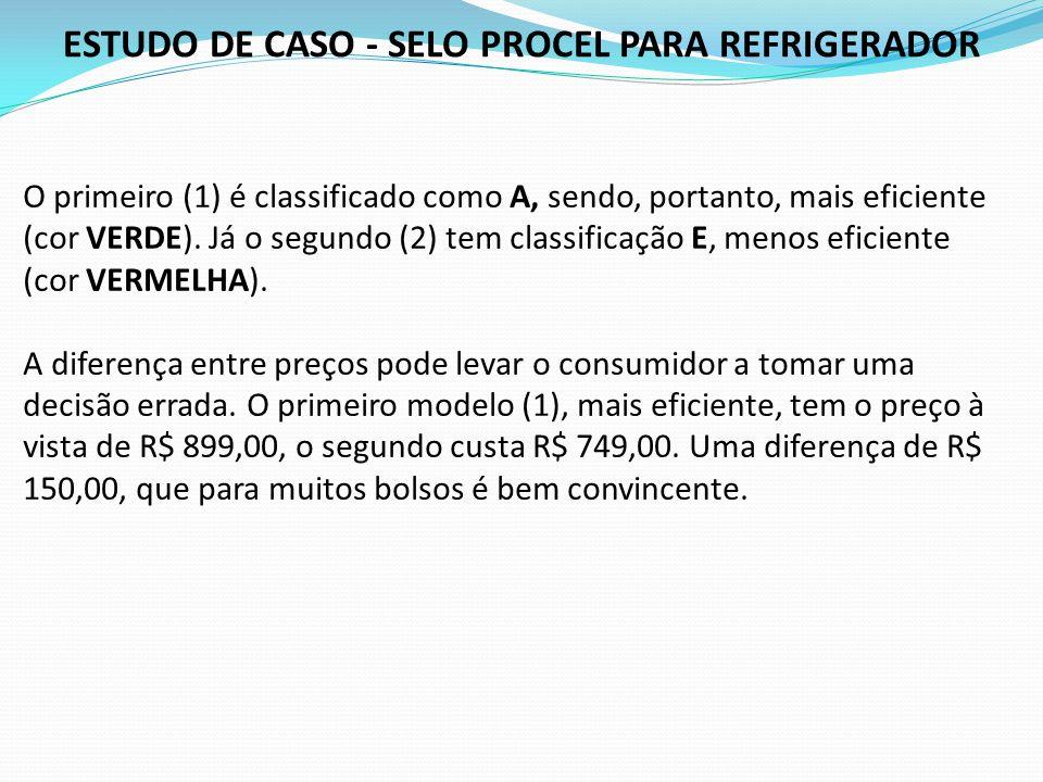ESTUDO DE CASO - SELO PROCEL PARA REFRIGERADOR O primeiro (1) é classificado como A, sendo, portanto, mais eficiente (cor VERDE). Já o segundo (2) tem