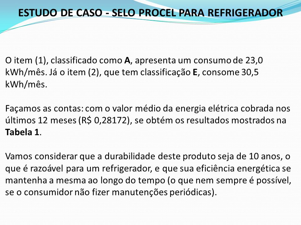 O item (1), classificado como A, apresenta um consumo de 23,0 kWh/mês. Já o item (2), que tem classificação E, consome 30,5 kWh/mês. Façamos as contas