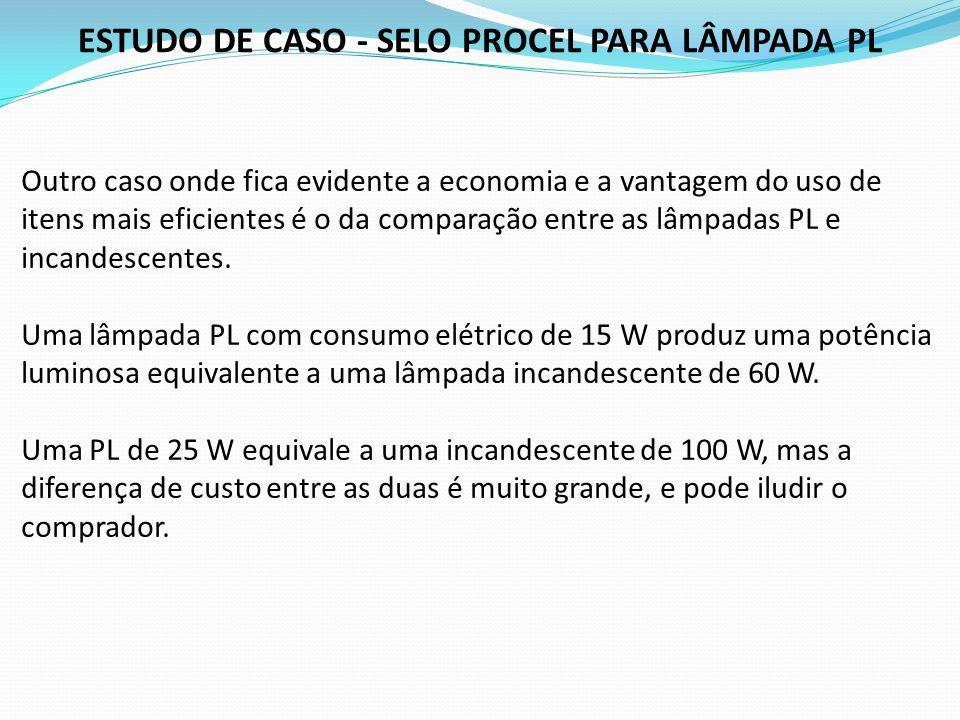 ESTUDO DE CASO - SELO PROCEL PARA LÂMPADA PL Outro caso onde fica evidente a economia e a vantagem do uso de itens mais eficientes é o da comparação e