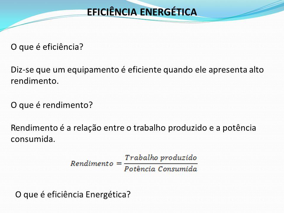 O que é eficiência? Diz-se que um equipamento é eficiente quando ele apresenta alto rendimento. EFICIÊNCIA ENERGÉTICA O que é rendimento? Rendimento é