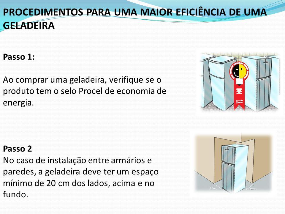 Passo 1: Ao comprar uma geladeira, verifique se o produto tem o selo Procel de economia de energia. Passo 2 No caso de instalação entre armários e par