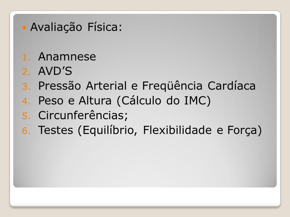 Avaliação Física: 1.Anamnese 2. AVDS 3. Pressão Arterial e Freqüência Cardíaca 4.